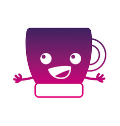 Silhouette happy coffee cup kawaii with arms vector