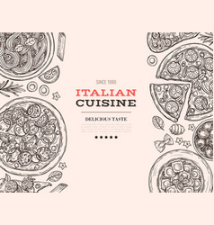 sketch italian cuisine top view food drawn pasta vector image