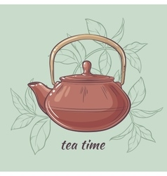 Teapot on color background vector image