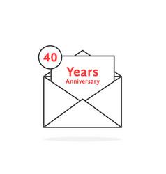 Thin line 40 years anniversary logo like open vector