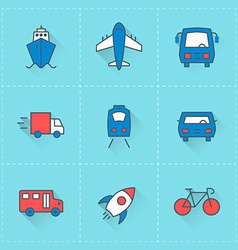 Travel and Transportation icons icon set in flat vector image