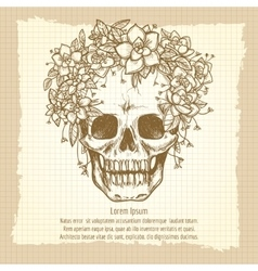Vintage skull sketch in roses wreath vector image