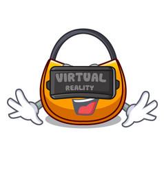 Virtual reality hobo bag outline on image cartoon vector
