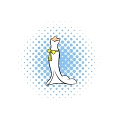 Wedding dress comics icon vector