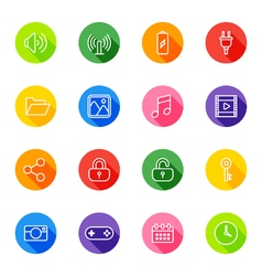 White line web icon set on colorful circle vector