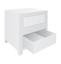 White nightstand with two drawers bedroom vector