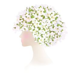 Woman flowers vector