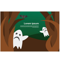 wood with ghosts happy halloween banner scary vector image