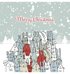 Christmas card with happy rabbit family vector image vector image