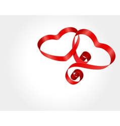 two red hearts from ribbon vector image vector image