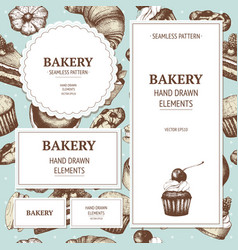 vintage bakery sketch background vector image