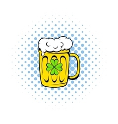 Beer mug icon comics style vector image vector image