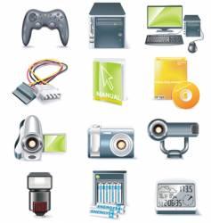 computer parts icon set vector image