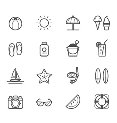 Summer icons and Beach icons vector image vector image