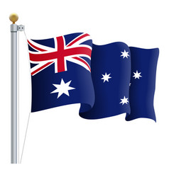 waving australia flag isolated on a white vector image