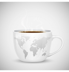 World Map on Cup vector image vector image