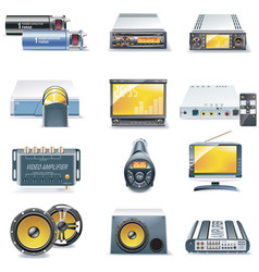 car stereo icons vector image