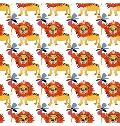 Cute floral seamless pattern with wild cute lion vector image vector image