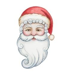 Watercolor head of santa claus vector
