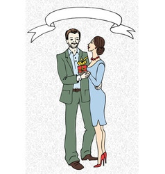 Woman gives present to man vector image
