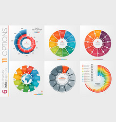 collection of 6 circle chart templates 11 vector image