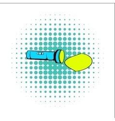 Flashlight comics icon vector image