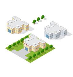 supermarket shop 3d dimensional building of vector image