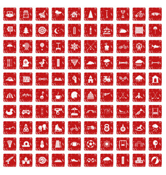 100 kids games icons set grunge red vector image
