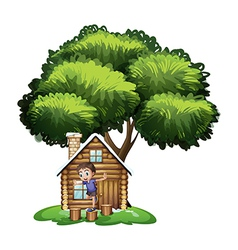 A boy playing outside house under tree vector
