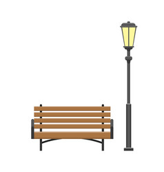 Bench made wooden material with lantern vector