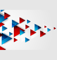 Bright blue and red tech triangles background vector