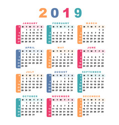 Calendar 2019 week starts with sunday vector