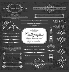 Calligraphic design elements on chalkboard vector