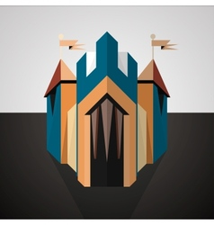 Cartoon castle drawn in perspective Icon vector
