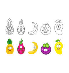 cartoon fruits set coloring book pages for kids vector image
