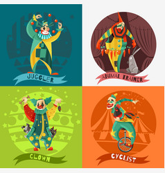 circus clowns 4 icons square concept vector image
