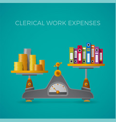 Clerical work expenses concept in flat style vector