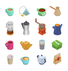 coffee cup teacup icon isometric coffeecup vector image
