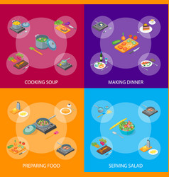 cooking or preparation food banner set isometric vector image