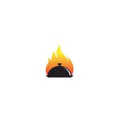 creative dish plate fire logo vector image