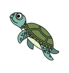 Cute marine turtle vector