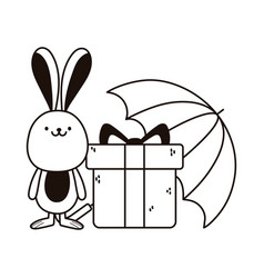 Cute rabbit with gift box and umbrella autumn vector