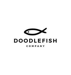 doodle fish logo icon vector image