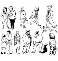 doodle people vector image