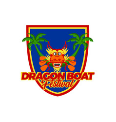 dragon boat festival badge vector image