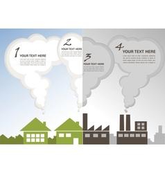 Factory pollution vs green city environment vector