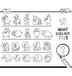 Find wrong picture in a row game coloring book vector