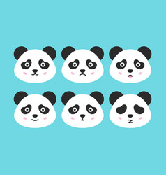 Flat panda faces vector