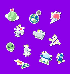 flat space icons stickers set vector image