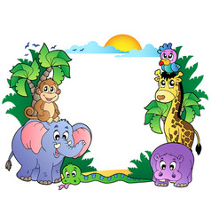 frame with cute african animals vector image
